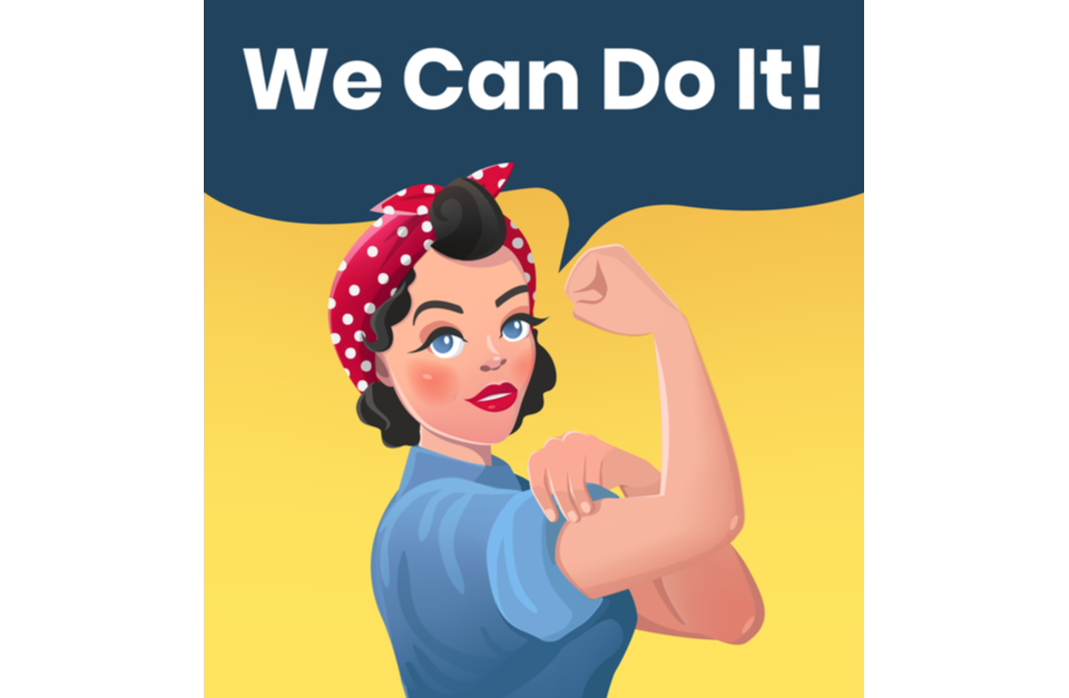 We Can Do It Poster Illustration. Vector Style Sexy Strong Brunette Girl.
